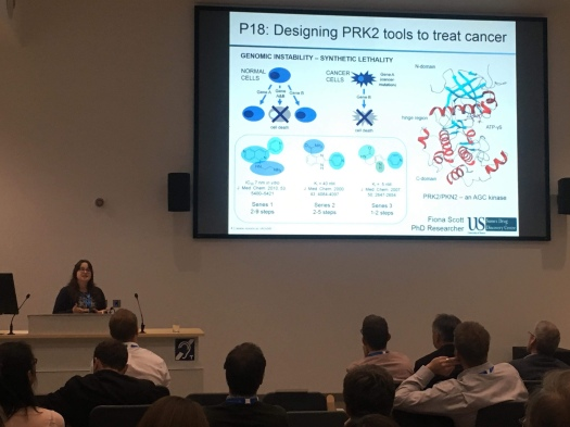 "Picture caption: Fiona giving a presentation to a group of scientists in front of a slide titled ""Designing PRK2 tools to treat cancer"". The slide has pictures of enzymes and chemical structures, giving a snapshot of my PhD project"