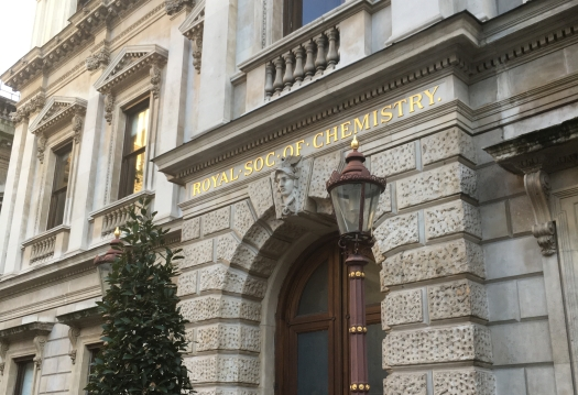 "Picture caption: the entrance to a stately building, Burlington House in London, with ""Royal Soc of Chemistry"" in gold above the door. There is a Christmas tree and an old lamp post next to the door."